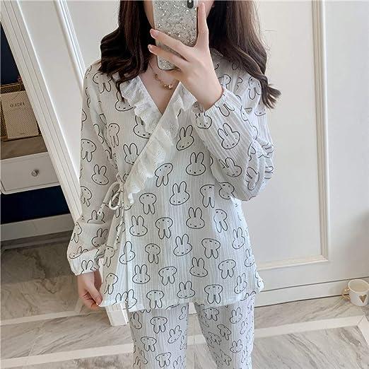 Otoño Nuevo Pijama de algodón de Manga Larga Dulce con Cuello en V ...
