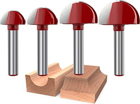 Wolfride 4pcs Core Box Router Bit 1//4 Inch Shank Round Nose Cove Box Router Bits