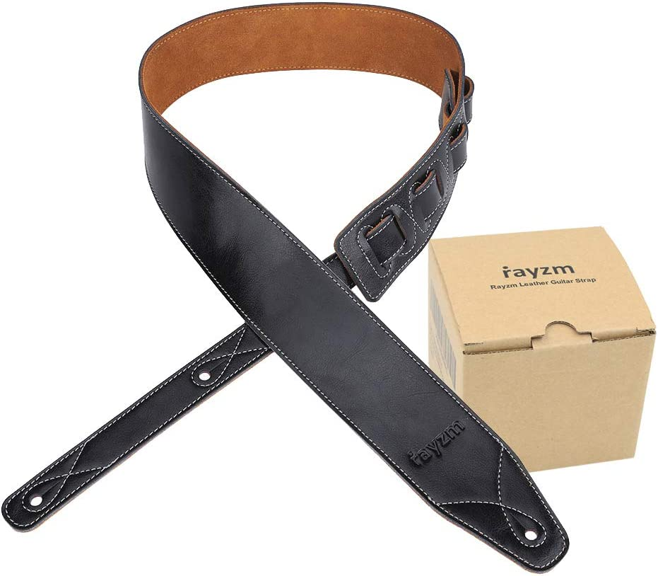 Rayzm Correa de guitarra o bajo con forro de terciopelo, Correa de piel auténtica para guitarras electricas o acusticas y bajos. 6,5cm de ancho, longitud ajustable entre 108 cm y 140 cm