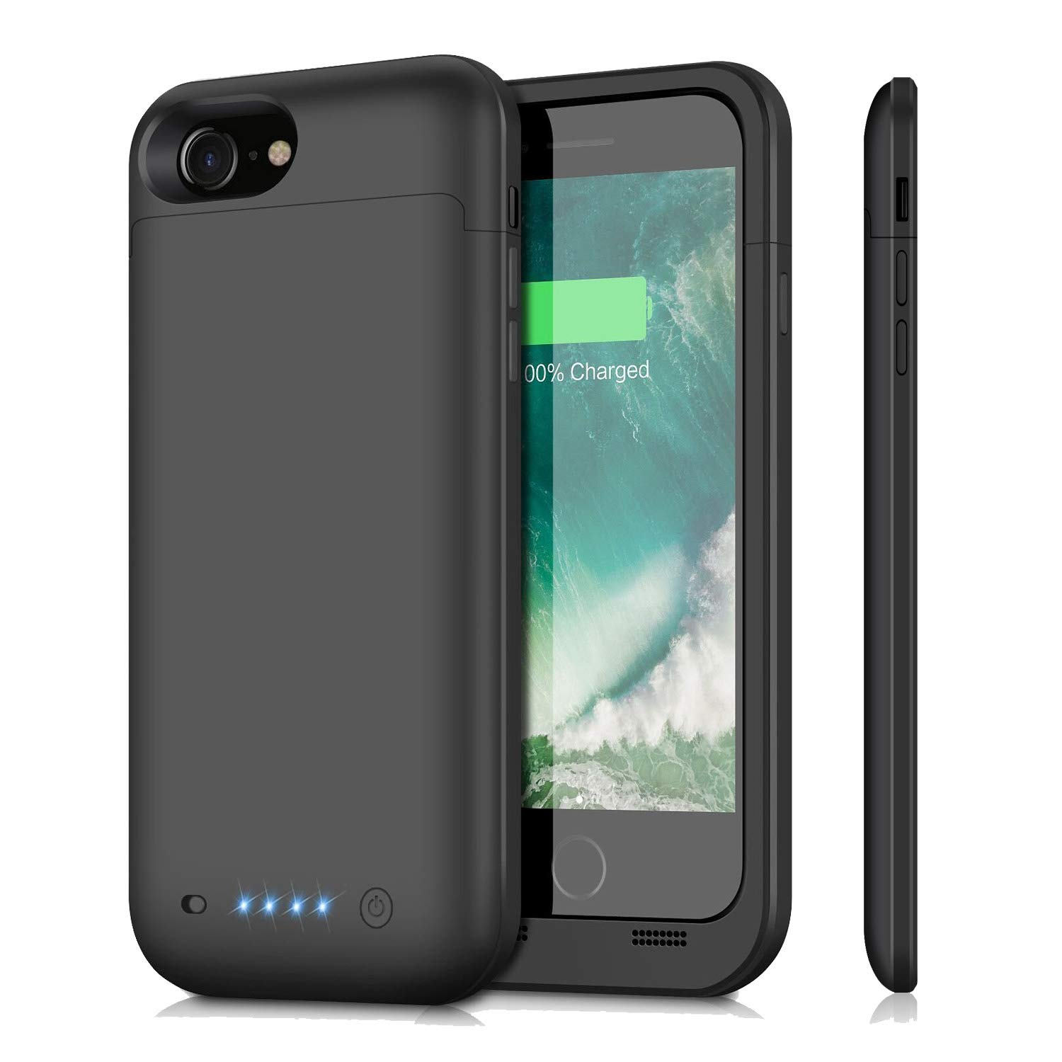 Battery Case for iPhone 8/7, iPosible 4500mAh Ultra Slim Portable Extended Battery Pack Backup Charging Case for Apple iPhone 7/8 (4.7 inch) Rechargeable case Charger Power Bank-Black