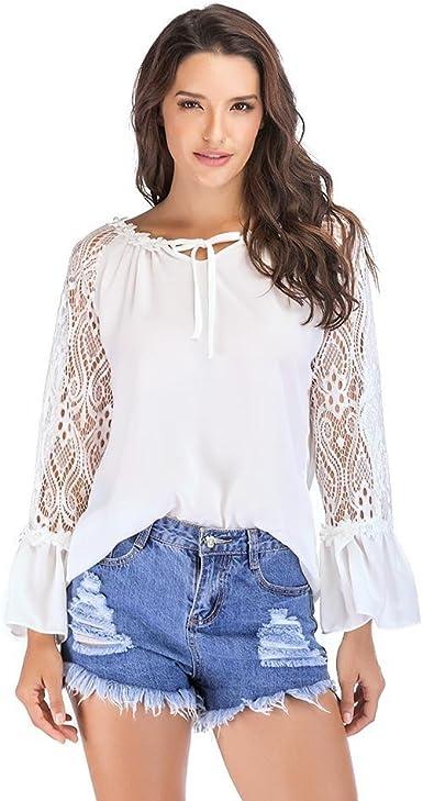 Kinlene Mujeres Casual Blusa de Encaje con Cuello Blusas Color sólido Camisas Tallas Grandes Manga Larga con: Amazon.es: Ropa y accesorios