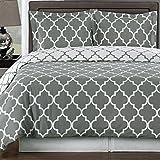Duvet Cover Set Twin/Twin Xl Grey Gray White 100 Egyptian Cotton Print Geometric Pattern Luxury Modern Reversible Bedding and Shams