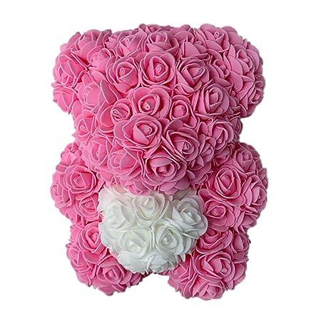 Qlans Rose Bear Flower, Forever Rose Flower Teddy Bear Doll ...