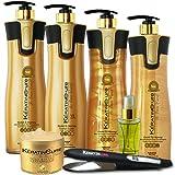 Keratin Cure Brazilian Global Complex Blow Out Hair Smoothing Treatment Kit Gold & Honey V2 CREME 7 Piece Complete Kit 960 ML /32 FL OZ - Tratamiento Brasilera de Keratina Alisado