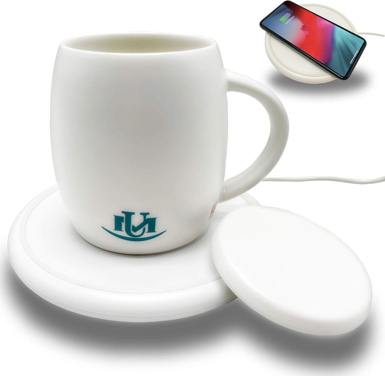 UniqueMax Warmer Mugs, Coffee Mug Warmer, 14 oz, Wireless Charging, Cup Warmer, Temperature Mug for Office and Home Use to keeps Coffee And Tea Warm, Heated Coffee Mug.