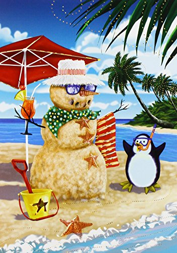 Masterpiece Studios Warmest Wishes Beach Penguin Greetings, 18 Cards/Foil Lined Envelopes (855900)