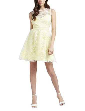 Lipsy Womens Floral Burnout Prom Dress Yellow 10