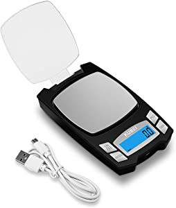 KUBEI Rechargeable Digital Pocket Scale 1000g/0.1g, Mini Kitchen Scale, Portable Electronic Food Scale Gram Scale, Small Milligram Scale for Jewelry
