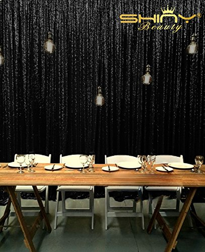 ShinyBeauty Sequin Backdrop 8FTx8FT Black Decorations product image