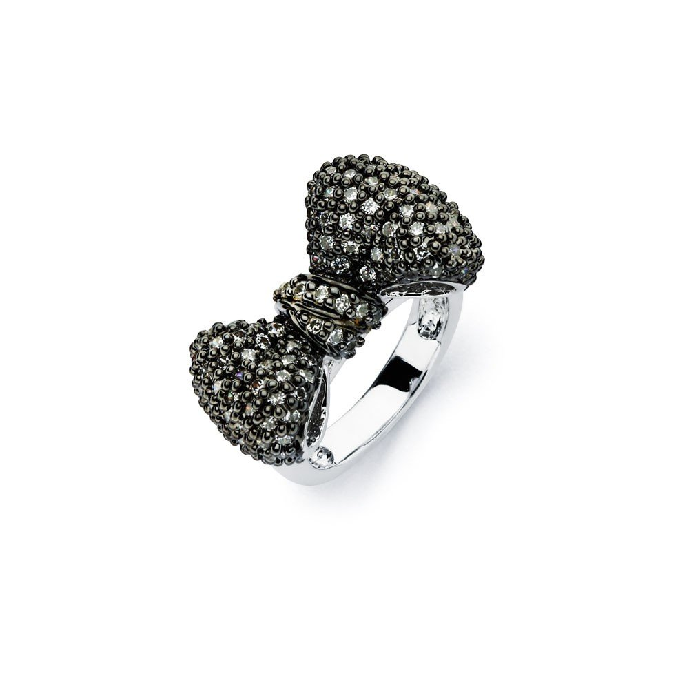 Black Micro Pave Set Cubic Zirconia Bow Ring Two Tone Rhodium Plated Sterling Silver Size 9