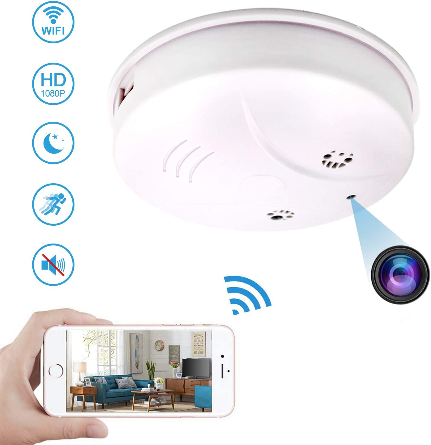 Newwings WiFi Hidden Spy Camera Smoke Detector with Night Vision and Motion Detection, Nanny Cam Mini Video Recorder Security Cameras for Home Office