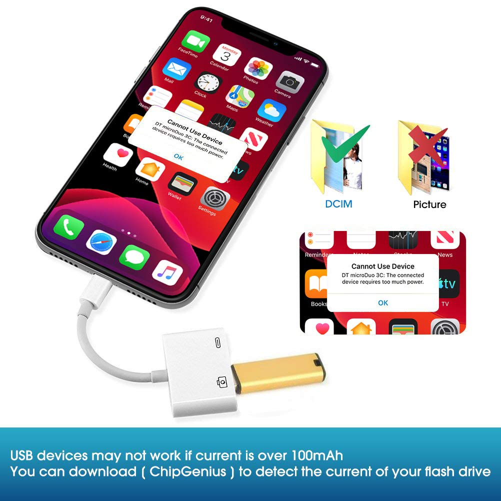 USB Camera Adapter,USB 3.0 Female OTG Adapter White USB 3.0 Female Otg Adapter Cable with USB Power Interface Data Cable,No App Required