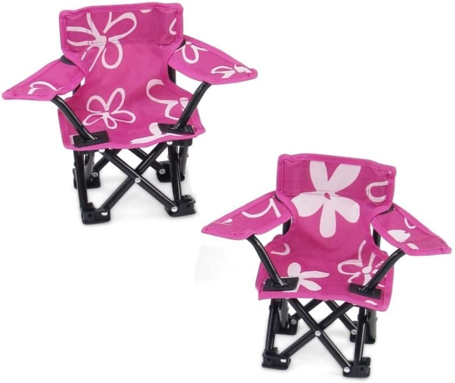 Emily Rose 18 Inch Doll Accessories | Awesome Pink and White Flowered Camping Sports Chairs, Includes Matching Carry / Storage Case | Fits American Girl Dolls