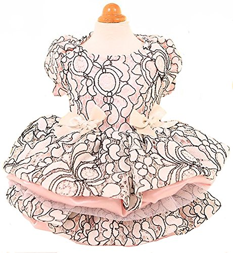 MaruPet Elegant Princess Lace Hollow Dress Silky Tutu Queen Style with Bowknit for Small, Extra Small DogTeddy, Pug, Chihuahua, Shih Tzu, Yorkshire Terriers Pink XS ()