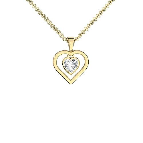 Goldkette damen herz  Herzkette Gold Kette Zirkonia Stein Damen ** Silber 925 hochwertig ...