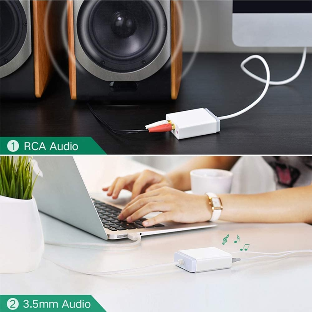 3.5mm Audio Adapter USB to Microphone Speaker External Sound Laptop Card HBIAO 2 RCA USB Audio Sound Card