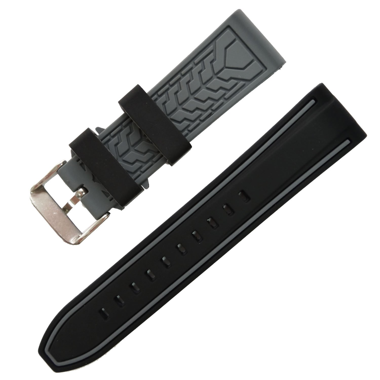 ブラックグレーゴムスポーツ手首ストラップストライプ色スプライシングWatch Band 20 mm – 26 mm 24mm ブラック  B072VJSK39