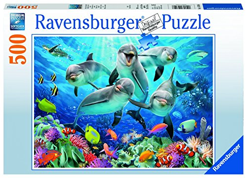 Ravensburger Puzzles Dolphins in the Coral Reef, Multi Color (500 Pieces)