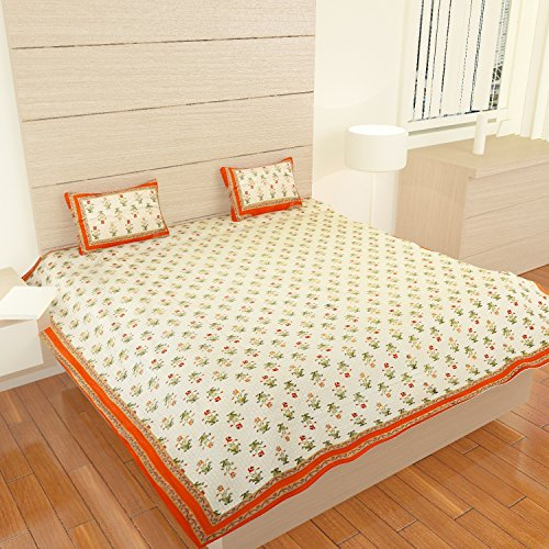 traditional mafia Mughal Collection 100% Pure Cotton Printed Double Bedsheet with 2 Pillow Covers, King, Orange