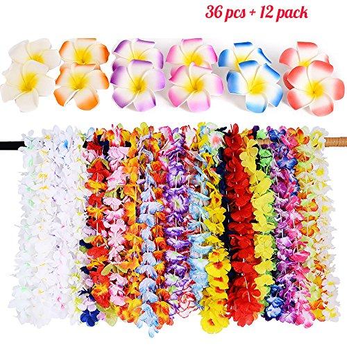 Hawaiian Leis Luau Party Supplies,36PCS Hawaiian Necklace Hawaiian Flower Hair Clips(12pack)Tropical Lays Designs for Theme Birthday,Graduation,Beach Party Decorations((3 -