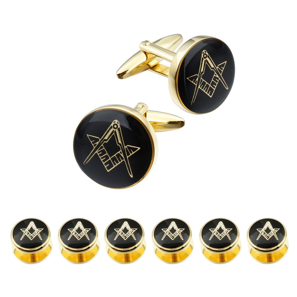 HAWSON Freemason Cufflinks and Tuxedo Shirt Studs Set - Men' Wedding Accessories