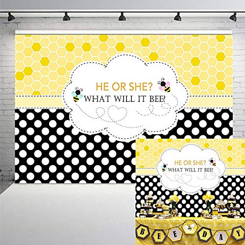 COMOPHOTO 7x5ft Bee Theme Gender Reveal Party Backdrop Bumble Bee He or She Baby Shower Photography Background Honeycomb Dots Bee-Day Party Banner Decorations -