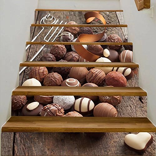 vanfan 3D Creative luxury handmade chocolate bonbon assortment of delicious decorative round chocolates w DIY Refurbished Stairs Stickers Removable Waterproof Stairs Mural(39.3