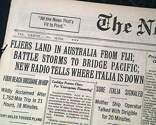 TRANS-PACIFIC Airplane Flight AUSTRALIA Charles Kingsford Smith 1928 Newspaper THE NEW YORK (Trans Pacific Flight)