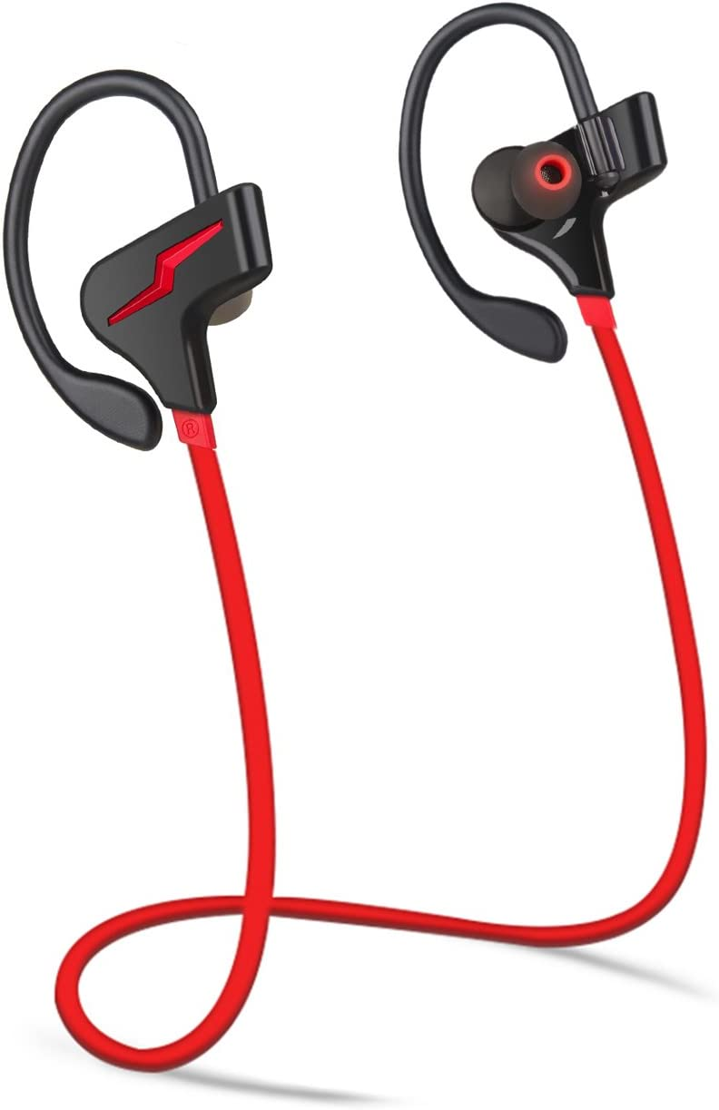 Bluetooth Headphones Sports Wireless Earbuds Sweatproof Headset Magnetic Attraction Stereo Earphones for Running Workout Gym Noise Cancelling Proshine(Red)
