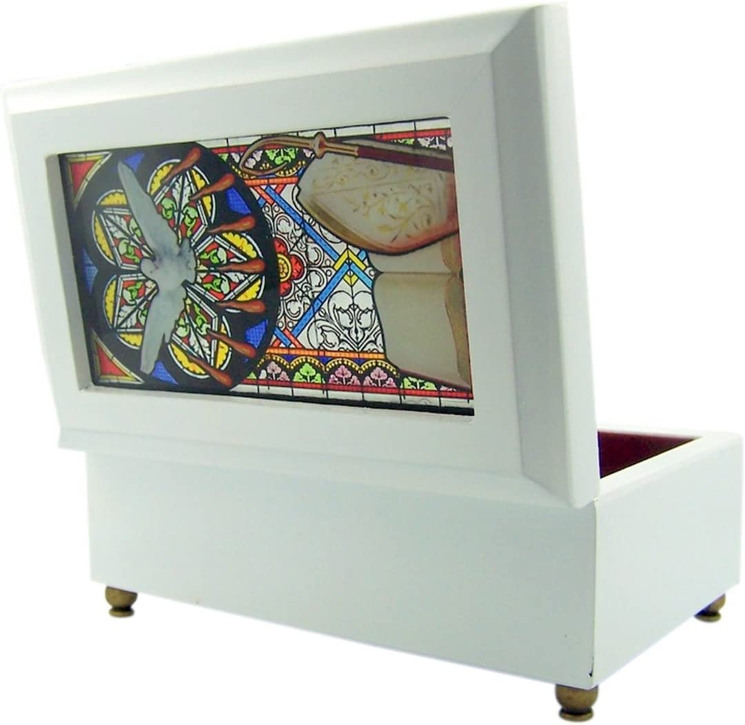 Catholic Religious Angel Stained Glass White Wood Musical Jewelry Box 6 1//2 Inch