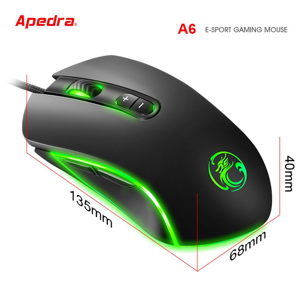 Kittoze Gaming Mouse, Wired 3200DPI LED Optical 7D USB Ergonomic Computer Game Mouse for PC Laptop Game, 7 Buttons for Windows 7/8/XP & Vista, etc