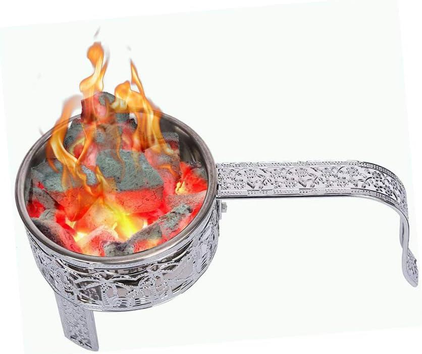RMAN® - Cesta de carbón para shisha de acero inoxidable para pipa de agua, carbón, con asa, accesorios plateados