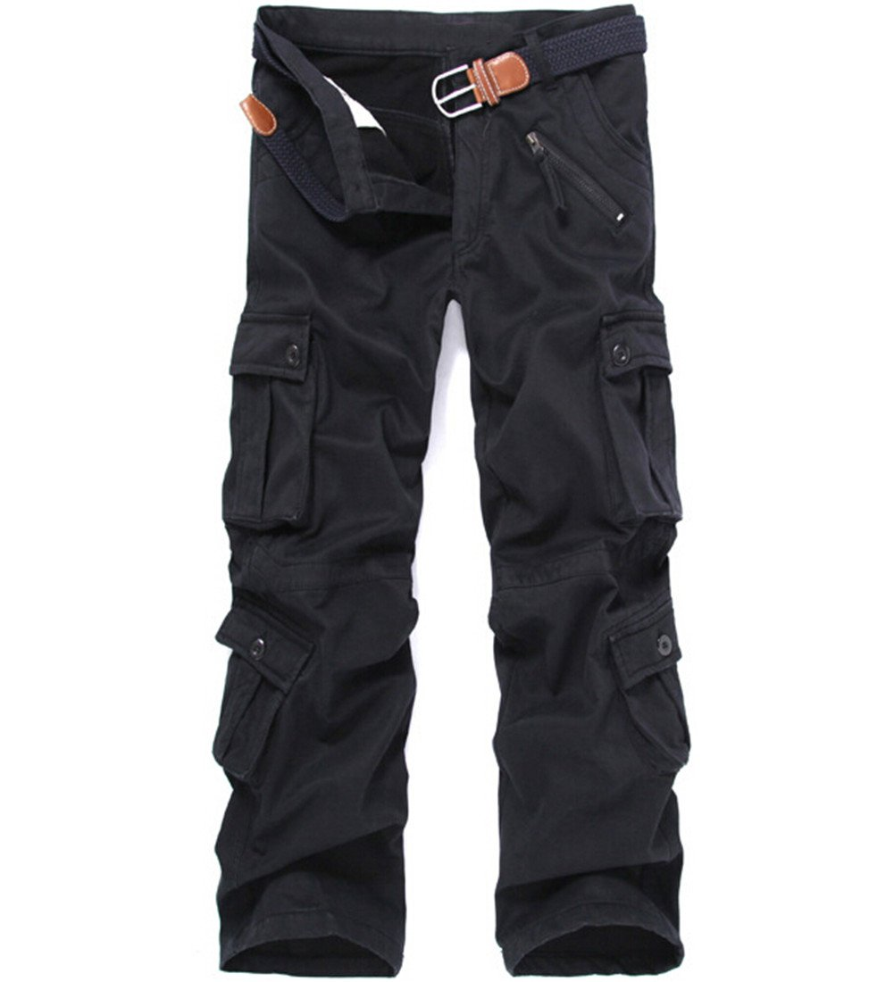 Congs Men's Winter Fleece Lined Military Cargo Pants Casual Outdoor Pants Black-28