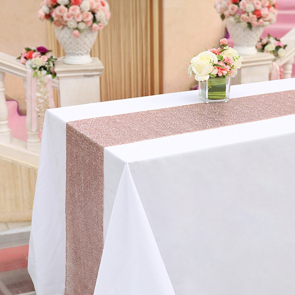TRLYC 20 Pack Rose Gold Sequin Table Runners 12''x72'' for Home Party Wedding Table Decoration by TRLYC
