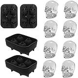 TANGCHU 3D Skull Ice mold-2pack, Easy Release Silikon Form, 8S und witzig Ice Totenkopf für Whiskey, Cocktails und Saft Getränke, schwarz