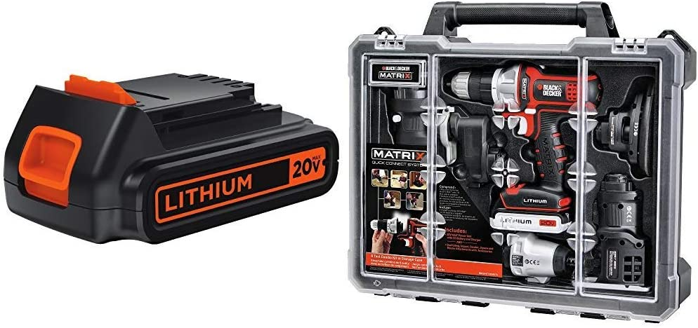 BLACK+DECKER LBXR20 20-Volt Max Extended Run Time Lithium-Ion Cordless To with BLACK+DECKER BDCDMT1206KITC Matrix 6 Tool Combo Kit with Case