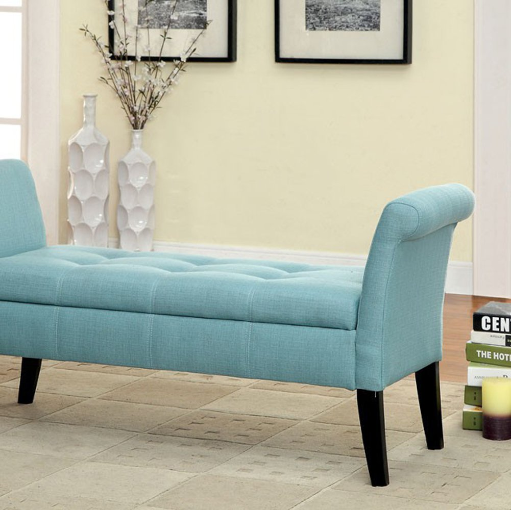 Furniture of America CM-BN6190BL Doheny Blue Fabric Storage Bench Seating