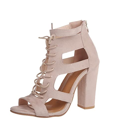 officiel de vente chaude chaussures classiques complet dans les spécifications LUCKYCAT Sandales d'été Femme, Amazon Chaussures de Été Sandales à Talons  Chaussures Plates Givré Pansements Creux Chaussures à Talons épais