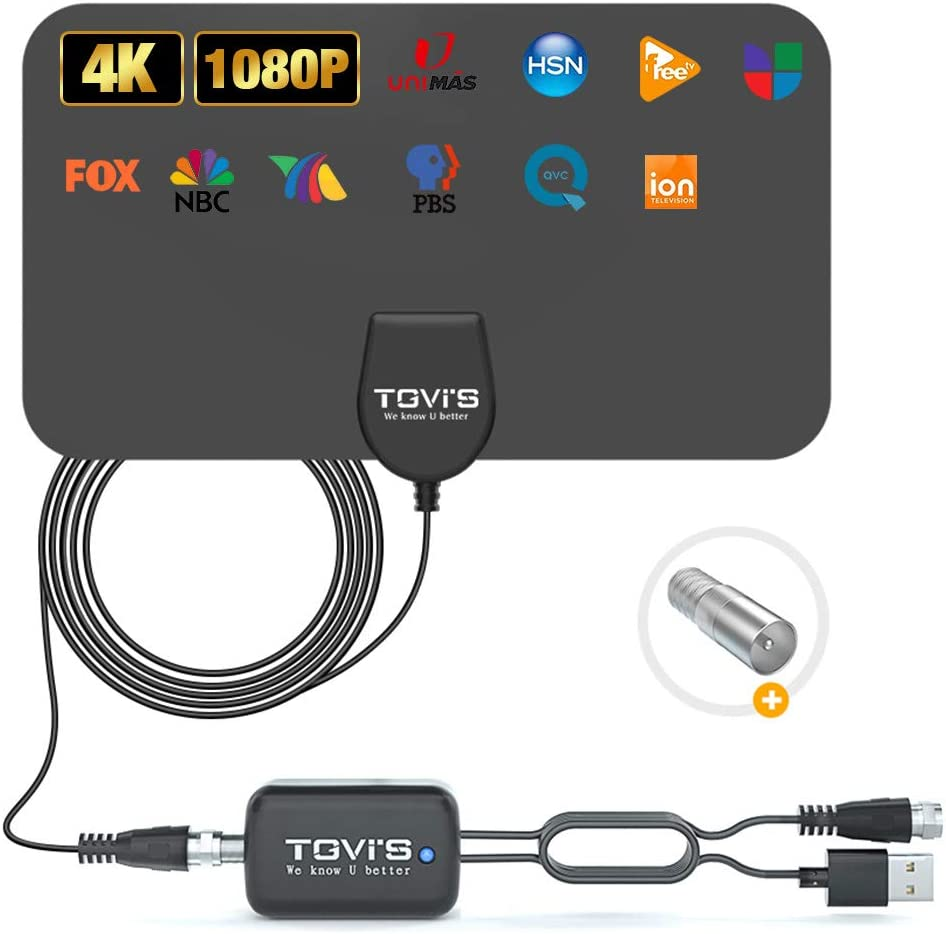 [2020 Newest] Amplified TV Antennas for Digital TV Indoor with Signal Amplifier 120 Miles, Clearview HDTV Antenna Get 4K and 1080P Local Live Channels Home Smart TV