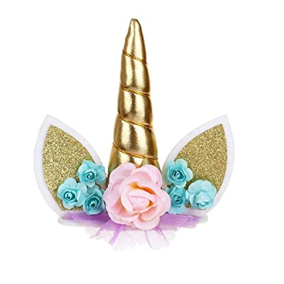 JANOU Unicorn Cake Toppers Gold Unicorn Horn Ears Silk Flower Set Cake Decoration Wedding Birthday Baby Shower Christmas Party Decoration: Toys & Games