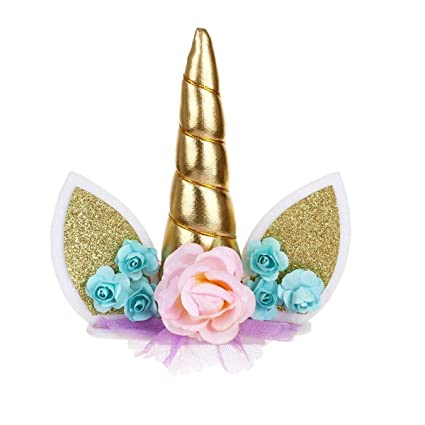 Amazon Janou Unicorn Cake Toppers Gold Unicorn Horn Ears Silk