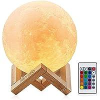 Lámpara Luna 3D, ManroGo Luz Nocturna Luna LED 12CM Control Remoto y Control Táctil 16 Colores RGB Brillo Regulable…