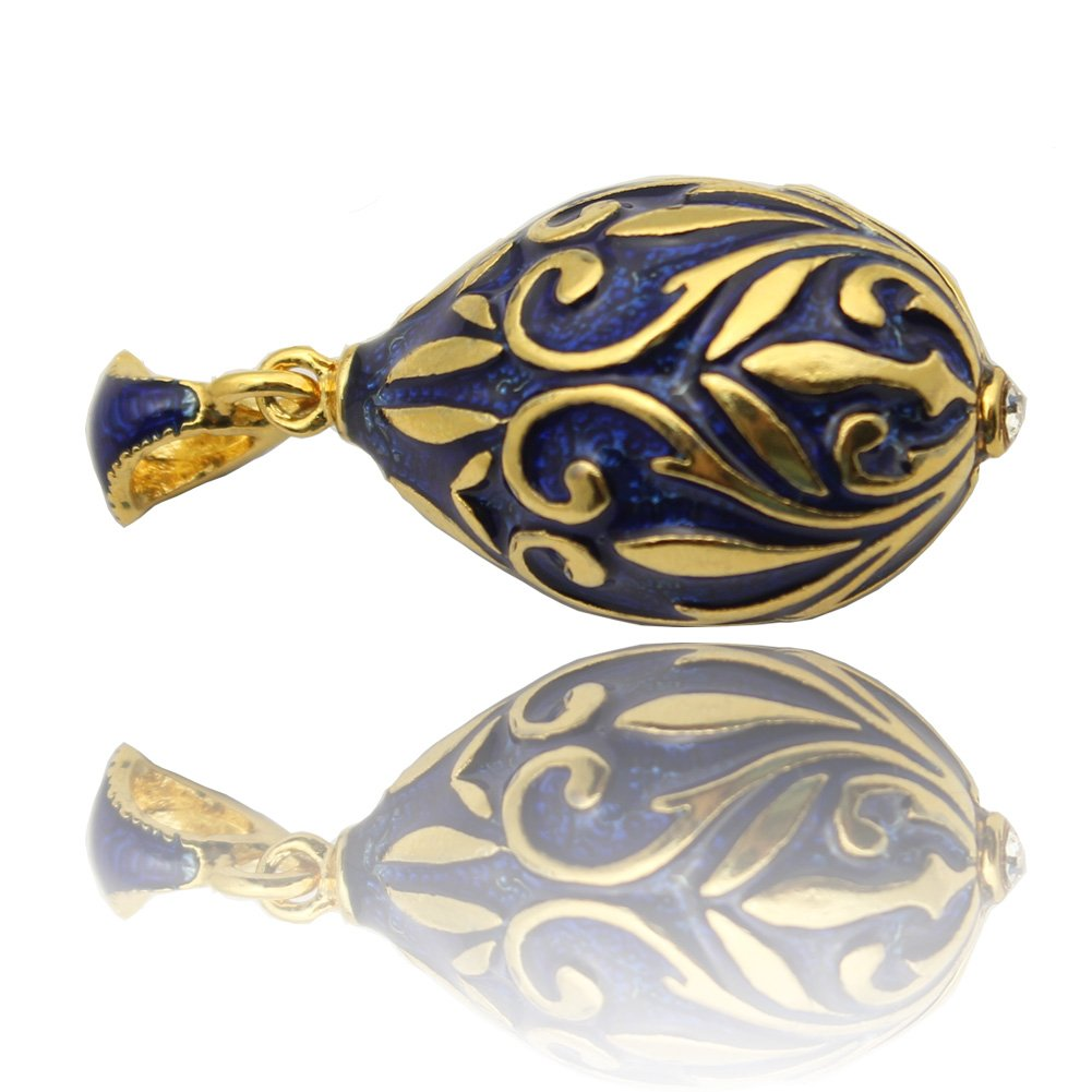 MYD Jewelry Gold Plated Hand Enameled Easter Egg Shape Pendant Necklace