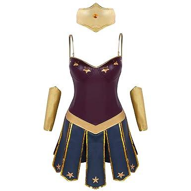 Tiaobug Damen Superhelden Kostum Komplett 3 Pcs Set Prinzessin Kleid