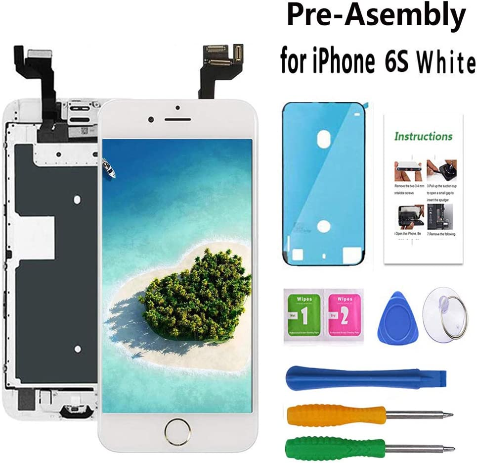Screen Replacement Compatible with iPhone 6S 4.7 inch White LCD Display Pre-Assembly Touch Digitizer A1633, A1688, A1700 with Front Camera, Proximity Sensor,Ear Speaker,Home Button,Repair Tools