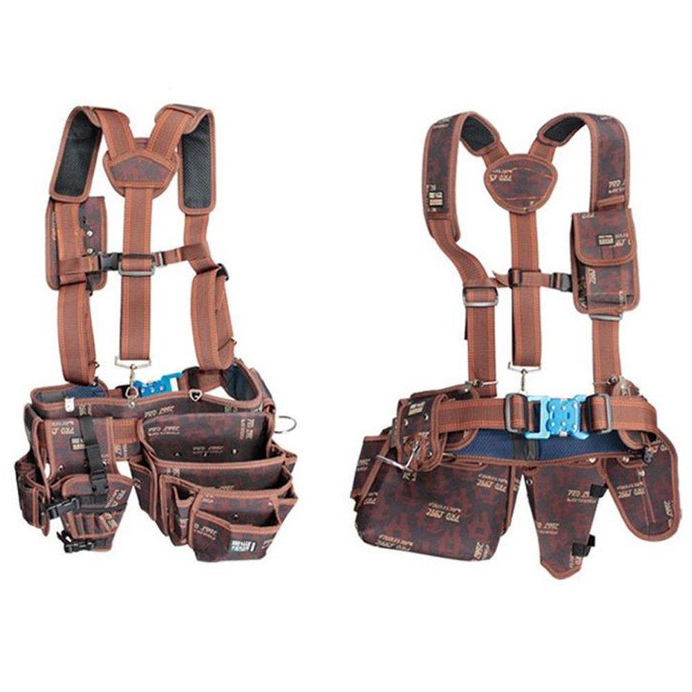 HWGLOBAL Electrical Maintenance Carpenter Tool Pouch Bag Technician's Tool Holder Work Organizer Framer's Tool Belt (Hammer holder, Drill holder, Multipurpose pocket, Suspenders, One-touch Belt)