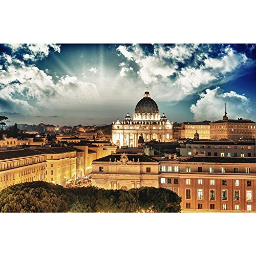 Pitaara Box Rome Buildings with Vatican St Peter Dome, Italy Peel & Stick Vinyl Wall Sticker 24.2 X 16Inch
