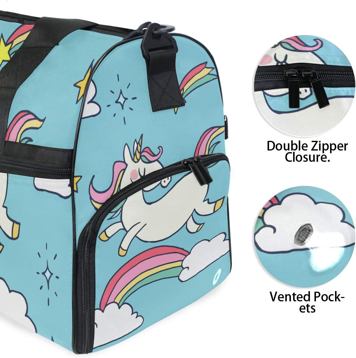 Travel Duffels Happy Unicorn Duffle Bag Luggage Sports Gym for Women /& Men