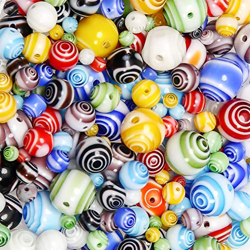 TOAOB 281pcs Mix Glass Beads Screw Round Ball Spacer Loose Bead for DIY Making ()