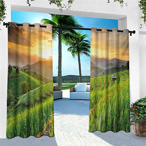 leinuoyi Country, Outdoor Curtain Extra Wide, Landscape of Rice Farm Terrace During Sunset in Thailand Image Photograph Print, Outdoor Curtain Panels for Patio Waterproof W120 x L96 Inch Multicolor